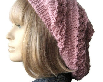 Lace Striped Slouchy Knit Hat, The Stacey Hat, Vegan Hat, Knitted Hat, Knit Accessory, Winter Fashion