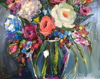 Original Oil Painting, flowers, floral art, oil painting, palette knife, colorful, impressionist