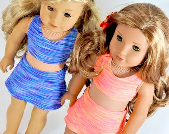 18 Inch Doll Sports Bra and Skort, AG Doll Cropped Top, Skort Summer Outfit handmade for American Girl Doll