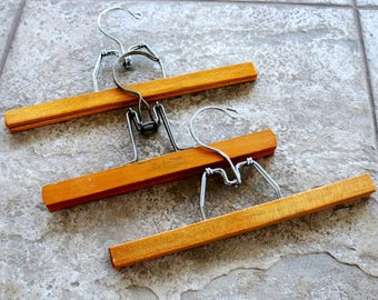 Vintage Wood Hangers Wooden Clamp Craft Hanger Skirt Pants Pecan Finish Set of Three