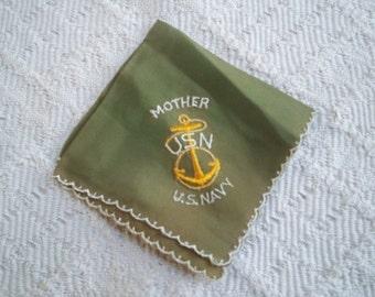 Vintage Accessory Handkerchief Military WWII Navy Collectible Mother Hanky USA Navy Memorabilia