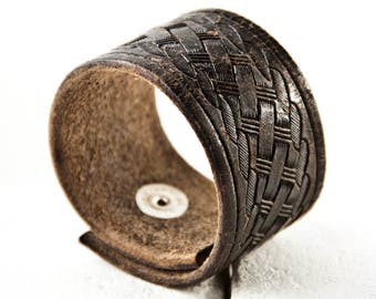 Distressed Vintage Leather Bracelet Jewelry Cuff