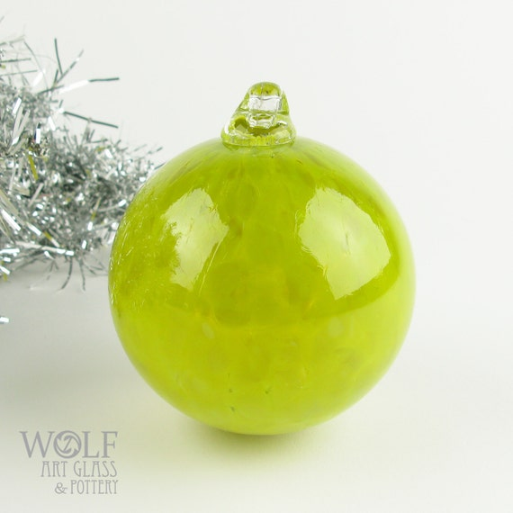 Blown Glass Christmas Tree Holiday Ornament Bauble Bright Olive