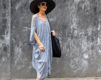 Caftan, Kimono, Midi, Rayon Chiffon, Batik, Gray