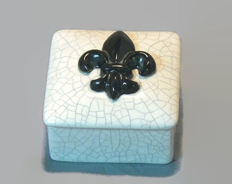 Ceramic Keepsake Box - Fleur de Lis Keepsake Box - Black
