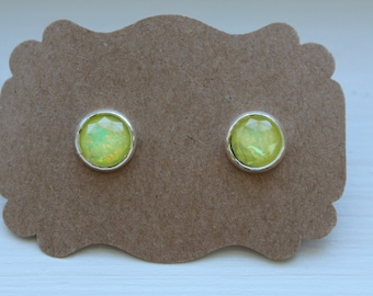 Yellow Fire Opal Earrings, Opal Earrings, Stud Earring, Silver Post, Resin Fire Opal Post, Yellow Opal Earrings, Stud Earrings, Opal Jewelry