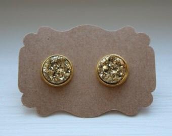 Gold Druzy Earrings, Gold Earrings, Drusy Earrings, 12mm Gold Post, Druzy Earrings, Gold Druzy Post, Gold Druzy Earrings, Stud Earrings