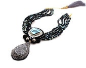 black sparkle titanium choker   bold and chunky statement necklace   natural gemstone jewelry   jean paul gaultier crystal necklace   OOAK