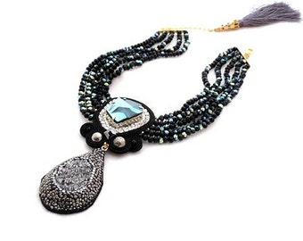 black sparkle titanium choker   haute couture statement necklace   natural gemstone jewelry   jean paul gaultier crystal necklace   OOAK