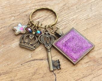 Bronze Tone Pink Purple Sparkle Glitter Square Keyring Charm Set Key Crown Bronze Charm and Bead Cluster Keyring Miniature Star Charm