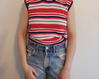 Striped Shirt Vintage Sleeveless Top