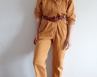 Jumpsuit Vintage Womens Mustard Yellow