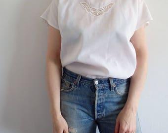 White Blouse Vintage Lace Cap Sleeve Top