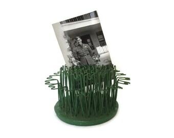 Vintage Flower Frog, Hairpin Blue Ribbon Flower Holder Co. Number 5, Greeley, PA Pennsylvania Green Metal Flower Stem Arranger