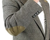 ON SALE until 3/19 Elbow Patch Blazer 44R Vintage Gray Wool Tweed Professor Jacket Sports Coat Sz L Free Us Shipping