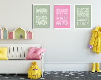 SALE - A3 Typography Prints - Set of 3Girls Dreaming Adverntures A3 prints