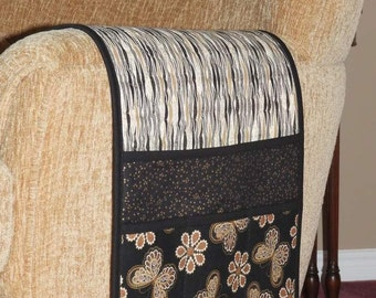 Quilted Armchair Caddy, Remote Holder, Bedside Pockets, Butterlies and Flowers, Gold Stars