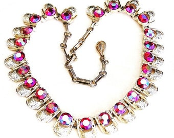 Coro Red Aurora Borealis Necklace