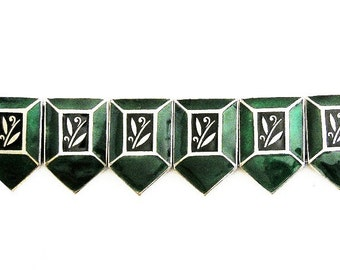 Art Deco Scandinavian Bracelet Green and Black Enamel