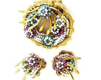 Hattie Carnegie Floral Brooch Pendant with Earrings Demi Parure