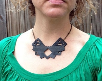Cutout Geometric Necklace - Bicycle Inner Tube