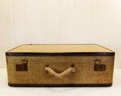 Vintage Suitcase Large Size Luggage Blue Trim