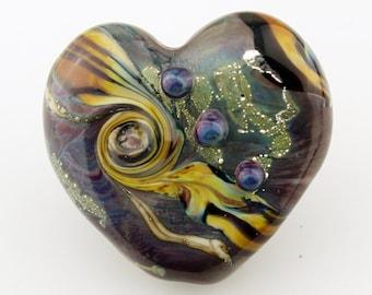 Lampwork Glass Heart Bead Organic Focal Brown Blue Green Purple