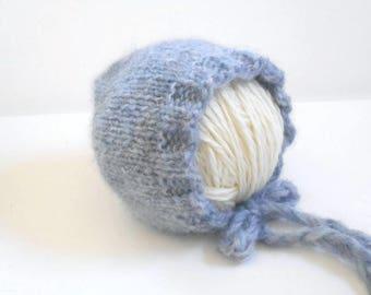 Blue Newborn Bonnet/Newborn Baby Bonnet/Newborn Hat/Knit Bonnet/Newborn Photo Prop/Hand Knit Bonnet/New Baby Bonnet/Baby Shower Gift