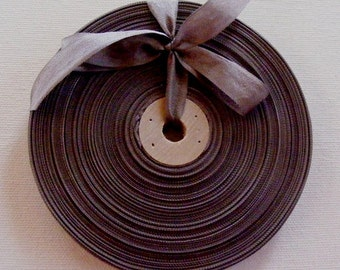 Vintage 1930's-40's French Woven Ribbon -Milliners Stock- 5/8 inch Smoky Brown