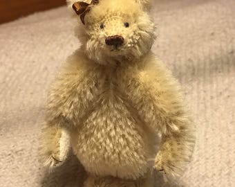 Miniature Hand Sewn 3in. CREAM Mohair Teddy Bear