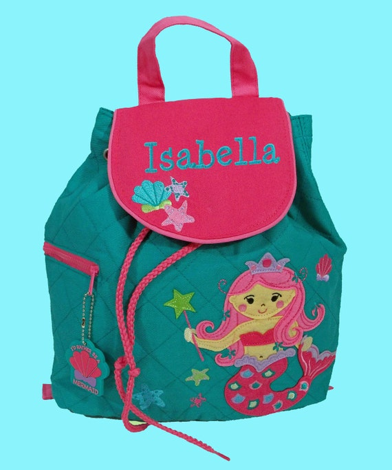 Personalized Child's Stephen Joseph Pink Quilted Toddler MERMAID Backpack With Pink Hair-Monogramming Is Included
