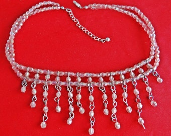 """Vintage 16"""" silver tone fringe necklace with pink aurora borealis coated beads  in great condition, appears unworn"""