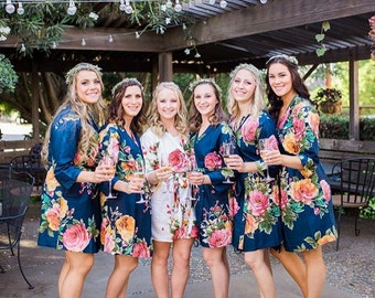 Navy Blue Bridesmaids Robe Sets. Kimono Robes. Bridesmaids gifts. Getting ready robes. Bridal Party Robes. Floral Robes. Dressing Gown
