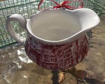 Vintage Royal Tudor Ware Coaching Taverns 1828 Pottery China Porcelain Creamer Red Transferware Staffordshire England