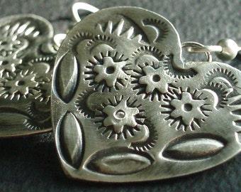 Southwestern Stamped Sterling Silver Heart Earrings