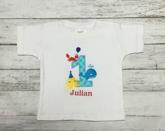 Under The Sea Crab Octopus Whale Birthday Shirt or Onesie Age 4  1st 2nd 3rd 4th 5th 6th Birthday