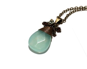 Minty Blue Briolette Necklace in Antique Brass with Crystal Accents