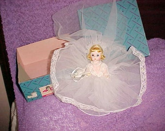"""Vintage MADAME Alexander BRIDE Doll 7"""" Orig clothes & Box BEAUITIFUL Face"""