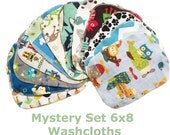 Sale - Mystery Set - 6x8 Sweet Bobbins Cloth Wipes Starter Set of 12 wipes -  Double Layer Flannel  - 6x8