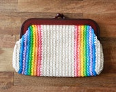 Vintage 1970s Clutch / 70s Woven Rainbow Clutch / Straw Purse