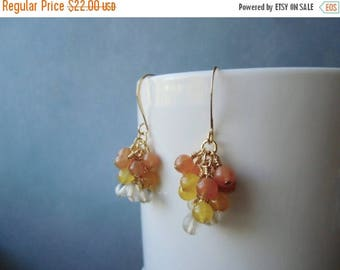 January sale Jade, quartz and adventurine, 22 ct gold plated, cluster earrings