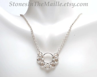 Sterling Silver Chainmaille Necklace, Dainty Silver Necklace, Silver Chain Mail Necklace, Silver Circles, Delicate Necklace