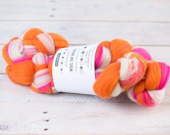 """Merino Roving   """"Melon Spritzer""""   Spinning Wool   Wool Top   Wool Roving Yarn   Felting Yarn   Merino Wool Felt   Roving Yarn   Wet Felting"""
