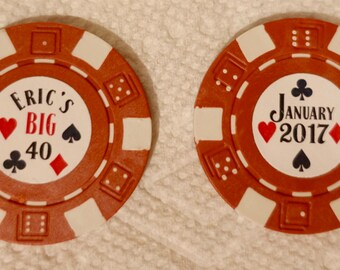 Poker Chip Stickers - 88 3/4 inch Custom Round Stickers for Poker Chips and Hershey Kisses