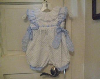 Vintage C.I. CASTRO 9M Baby polka dot sunsuit romper eyelet angel wings & collar