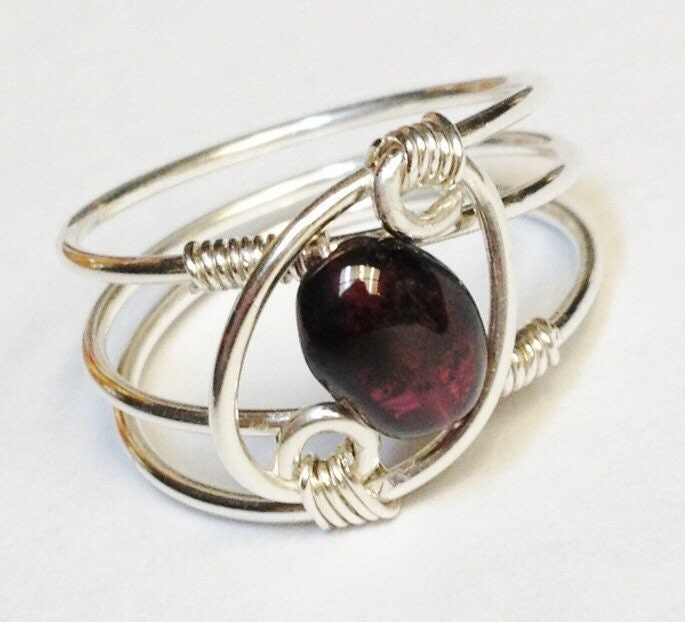 Garnet Bands: Garnet Ring Garnet Jewelry January Birthstone Sterling Rings