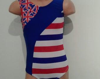 Hawaiian Flag Inspired  Patriotic Gymnastics Dance Leotard. Toddlers Girls  Gymnastics Dance Leotard. Dancewear. SIZES 2T - Girls 10