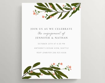 leaves and flowers engagement party invitation // bridal shower // baby shower // birthday // thank you note // elegant // brunch // dinner