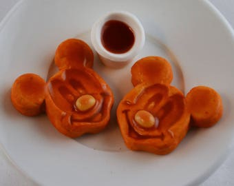 Disney inspired Mouse Waffles with Maple Syrup for American Girl Doll