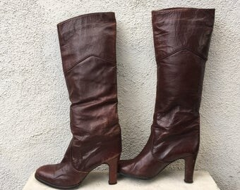 Vintage Nina burgundy high heel leather boots size 7 1/2 Made in Spain